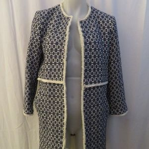 SAKS FIFTH AVENUE BLUE/WHITE LINED JACKET SIZE 6